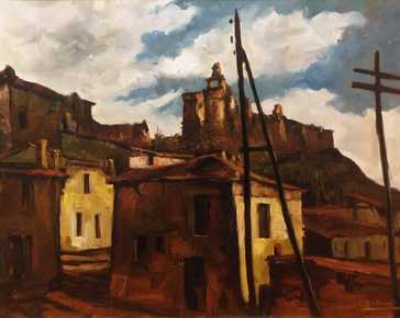 Antonelli Cesare - View of a village (Puglia?)